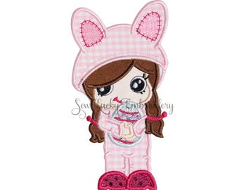 Bunny Girl Applique Embroidered Patch , Sew or Iron on