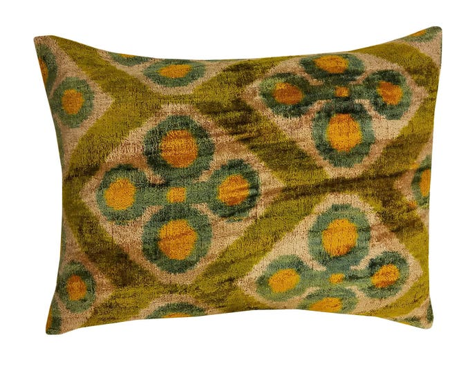 Silk Velvet Ikat Pillow Cover Lp319, Bohemian pillow, Velvet Ikat Pillow, Velvet Pillow