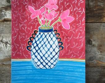 Original Gouache Watrcolor Painting Magnolia Branches in Vase