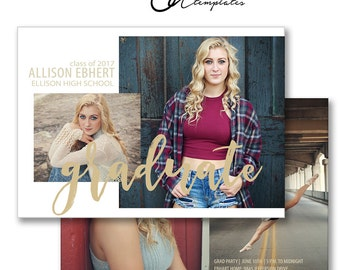 5X7 Senior Graduation Announcement, Photoshop Template for Graduation Invitation, High School Graduation Templates, GC392, INSTANT Download