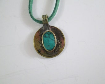 Turquoise Blue Kuchi Pendant Necklace