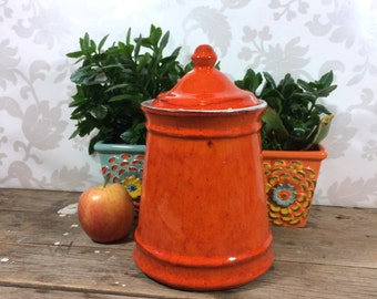 Vintage Orange Canister, Ceramic kitchen canisters, Bright Orange, Estriceram Canada 1950's