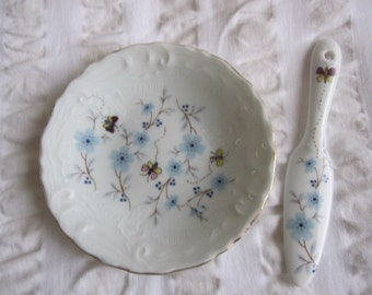 Limoges hand decorated dish and knife