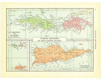 1921 Hammond's Vintage Map Pages (Caribbean Islands on one side and Virgin Islands on the other side)
