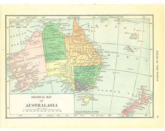 1921 Hammond's Vintage Map Pages (Pacific Ocean Islands on one side and Australia Political Map on the other side)
