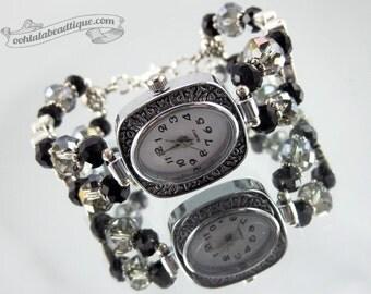 Pewter crystal watch, crystal wrist watch, bead bracelet watch, adjustable watch, beaded watch, ladies watch, womens watch, crystal jewelry