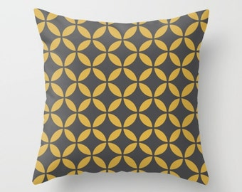 34 colours, Spicy Mustard pillow, Geometric Circles Pillow, Faux Down Insert, Mid Century Modern Cushion cover, Indoor or Outdoor cover