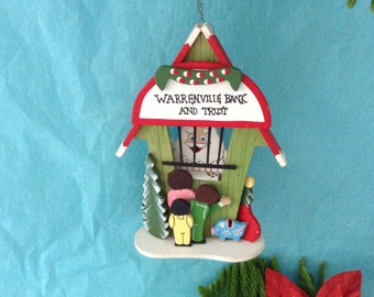 Emgee Ornament - Warrenville Bank & Trust -  Hawaii made Christmas Ornament - vintage - Gift idea - hand painted ornament - collectible