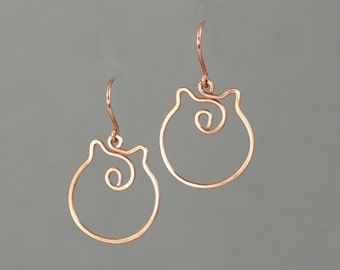 14k Rose gold filled cat kitty wiring earring handmade US free shipping Anni Designs