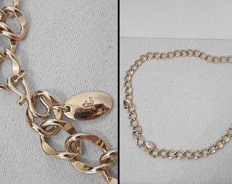 Chain LINK Belt 1980s Liz Claiborne Chunky Gold Tone Adjustable One Size
