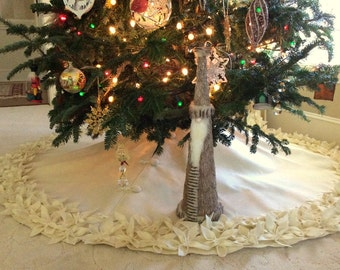 "65"" Christmas Tree Skirt in Ivory felt with a double row of hand cut and hand sewn flowers at the hem. FREE SHIPPING"