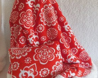 Super soft red and white  Minky blanket and pillow set