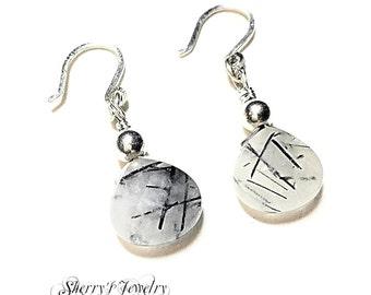 Handmade silver tourminated quartz drop earrings