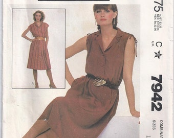 Pullover Dress With Collar Buttoned Bodice Optional Drawstring In Shoulder Casing Size 14 16 18 Sewing Pattern 1982 McCalls 7942 Plus Size