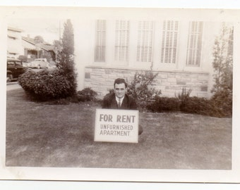 Man Dressed In Suit With Rooms For Rent Sign Vintage Photo Antique Photograph Paper Ephemera