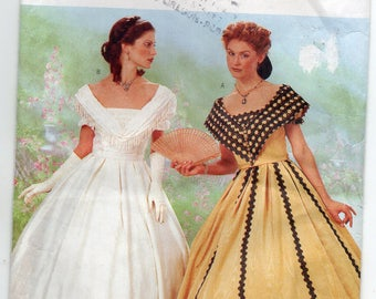 Civil War Era Flared Dress Historical Gown Boned Bodice Princess Seams Size 12 14 16 Adult Costume Sewing Pattern Butterick 6693 Plus Size