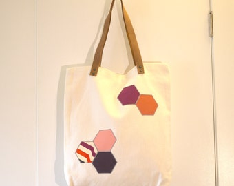 SALE: Organic cotton Tote Bag with leather handles - Hexagon patchwork - pop of color, eco-friendly