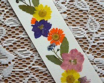PRESSED FLOWER BOOKMARK - Preserved Natural Flowers, Art Collage, Colorful Daisy, Larkspur, Forget me nots Garden Flowers, Reading Gift