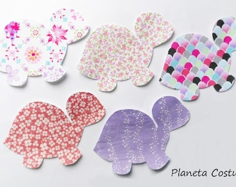 Turtle iron on fabric appliques, iron on appliques, Fabric Applique, Appliques for Bibs, Bodysuits, Burp cloths, fabric patch, patch