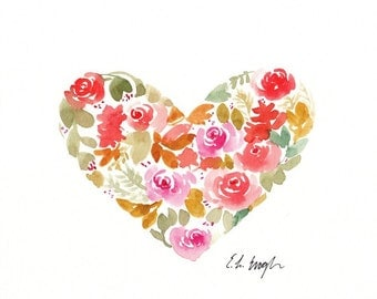 Watercolor Heart, watercolor flowers, floral heart, original painting, fall home decor, 8x10, flowers painting, heart painting, floral art
