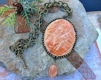 Peach Necklace, Peach Jewelry, Statement Necklace, Chunky Necklace, Handmade Necklace, Polymer Clay Jewelry, Unique Jewelry, Boho Jewelry