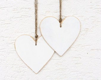 white wooden heart / set of 2 rustic hearts / hand painted heart / Christmas gift / gift for her / house warming / home decor / heart decor