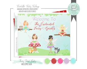 Fairy Dust Birthday Party. 4 fairies with woodland creatures in red purple, lime, blue & pink. Printable PDF collection instant download