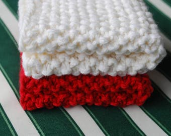 On sale,WASH Cloths,DISH,Cloths - set of 2- Crochet in Cotton white/red