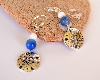 Sand Dollar Earrings, Dangly Cute Two Sided Sand Dollar Charms with Blue and White Beads, Clip On Available, Gift Boxed