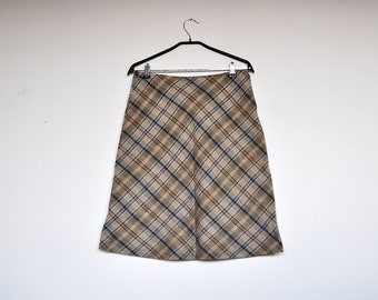 Vintage Tartan Plaid School Girl Midi High Waisted Preppy A Line Skirt