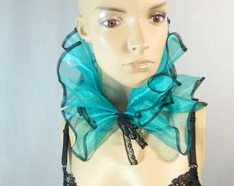Bib Scarfette teal turquoise Organza ruffled collar Collier Scarf Choker Burlesque Harlequin Clown Costume