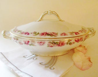 Haviland Limoges The Amstel Covered Casserole Dish, Small Lidded Serving Dish, Pink Rose Garland, Romantic Decor, French Porcelain, Gilded