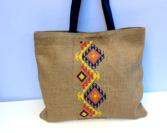 Tribal, burlap tote bag, cross stitched with tribal pattern by hand, one of a kind  tote bag, handmade, Casual Tote Bag