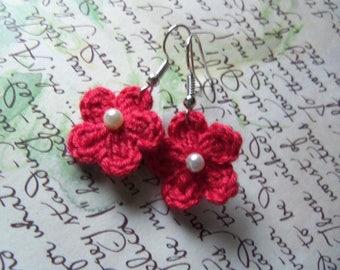 Small Crochet Flower Earrings. Handmade Crochet Flower Earrings. Red Flower Earrings.
