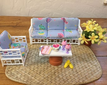 Barbie Doll House Sweet PATIO RETREAT VIGNETTE Room Furniture & Accessories Sofa Chairs Rug Garden