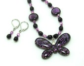 Butterfly Dichroic Glass Pendant, Beaded Necklace and Earrings Set, Purple