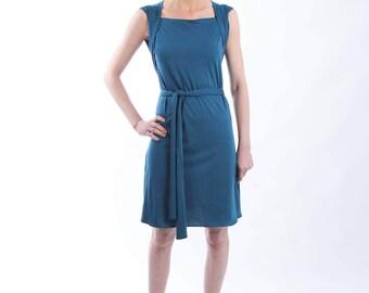 Teal Jersey Dress - Sleeveless