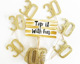 Thirty party, Thirty birthday, Thirty toppers, Thirty, 30, 30 Party, 30 birthday, cupcake toppers, toppers, Thirty party decorations, gold