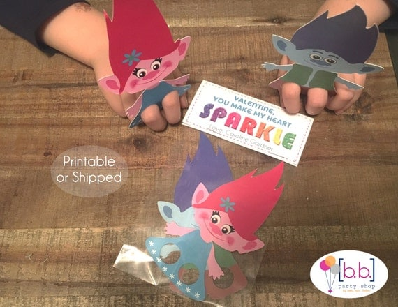 Trolls Valentine's Day Finger Puppet Treat Bag and Topper- Personalized