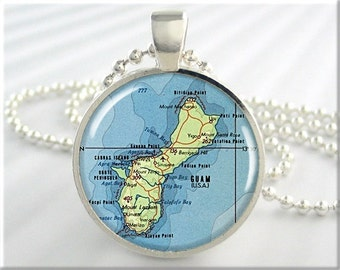 Guam Map Pendant, Resin Charm, Guam Island Map Necklace, Picture Jewelry, Round Silver, Gift Under 20, Map Charm (741RS)