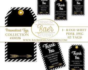 Black and Gold Tags:Printable Tags, Party Favor Tags, Personalized 50th Anniversary Tags, Graduation Tags, Wedding Favor Tags, Thank You Tag