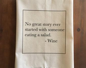 Wine Salad Flour Sack Tea Towel