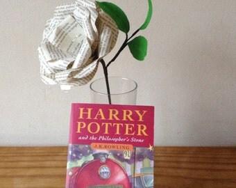 Paper flower Harry Potter single stem book rose