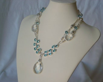 Blue and White Topaz Gemstone necklace and earrings set