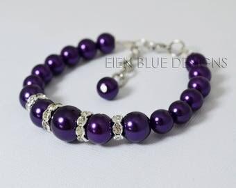 Purple Pearl Bracelet, Purple Pearl Bracelet/Earrings set, Eggplant Bridesmaid Bracelet, Plum Pearl & Rhinestone Bracelet, Purple Jewelry