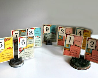 antique numbered game cards 1-9, antique cards, wedding tables, assemblage, vintage ephemera, table numbers