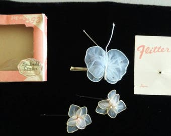 Vintage 3 piece Flitter Bobs hair barrettes with butterfly and flowers