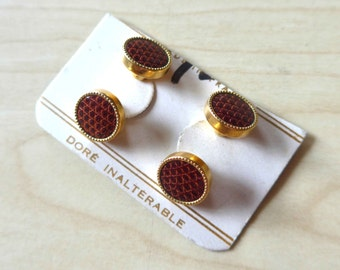 Great French Vintage NOS 1940's 1950's Cuff Links in Faux Brown Reptile and Golden Metal, Vedette Brand