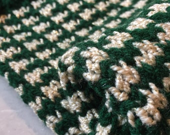 Christmas stocking knitted, hand knit stocking, green and gold Christmas, gold and green stocking, green Christmas knit, gold stocking knit