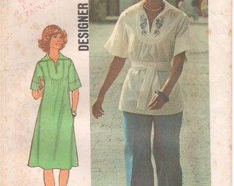 1976 - Simplicity 7430 Vintage Sewing Pattern Size 16 Bust 38 Pullover Dress Top Pants Sailor Type Collar Dropped Shoulders Yoke Tunic Uncut
